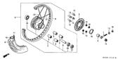 Genuine Honda CG125 1998 9X169 Spoke Set B Part 22: 9771652178R0 (119660)