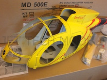 FUNKEY Scale fuselage Hughes MD500E  .60 (700) size YELLOW Color with Landing Skid