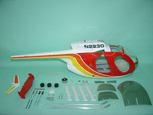 FUNKEY Scale fuselage Hughes 500D .60 (700 ) size RED Color with landing Skid