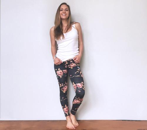 Sophia Floral Rose Leggings - Charcoal