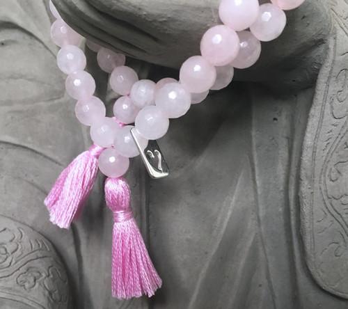 Rose Quartz Heart Prayer Bracelet