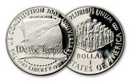1987 U.S. Constitution Bicentennial Silver Dollar MS70