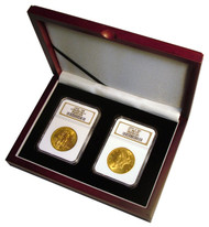 Two Coin Wood Display Box NGC or PCGS