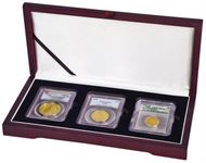 Three Coin Wood Display Box NGC or PCGS graded coins in coin collecting supplies