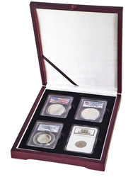 Four Coin Wood Display Box NGC or PCGS
