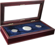 Three Coin Wood Box for Silver Dollars in coin supplies