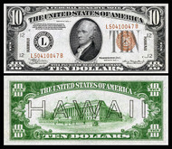 $10 Hawaii Overprint Bill (Fine to Very Fine)