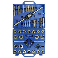 View of Metric Larges Sizes Tap and Die Set in open blue storage case