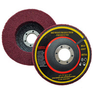 View of top and bottom of non-woven flap disc