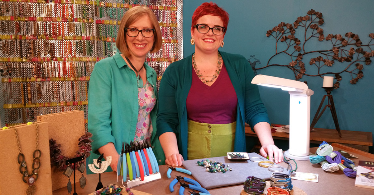 Katie Hacker with Ashley Bunting.  Image courtesy of Beads, Baubles & Jewels.