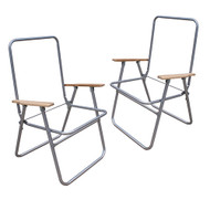 Two Steel High-Back Lawn Chair Frame with Wood Arms