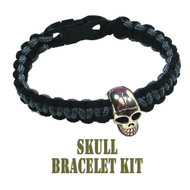 95 Parachute Cord Black/Gray Skull Buckle Bracelet Kit