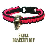 95 Parachute Cord Pink/Black Skull Buckle Bracelet Kit