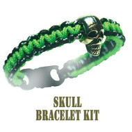 95 Parachute Cord Green/Camo Skull Buckle Bracelet Kit