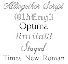 Please choose one of these fonts for the name engraving.