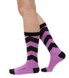 Take a Chance purple, chevron socks by Posie Turner. Socks with inspiring words.