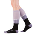 Live for Today modern, purple stripe socks by Posie Turner. Socks with inspirational words.