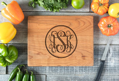 Cherry Personalized Cutting Board ~ Circle Monogram