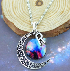 Initial Charm Moon Pendant 4 - Milky Way