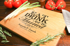 Cherry Personalized Cutting Board ~ Eat Drink & be Married