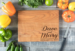 Cherry Personalized Cutting Board ~ Corner Name Couple
