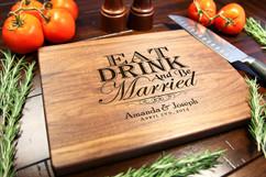 Walnut Personalized Cutting Board ~ Eat Drink & be Married