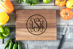 Walnut Personalized Cutting Board ~ Circle Monogram