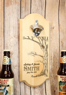 Personalized Wall Mount Bottle Opener - Love Tree