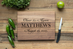 Walnut Personalized Cutting Board ~ Fancy Stack Couple