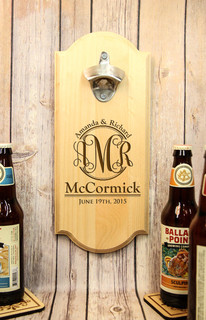 Personalized Wall Mount Bottle Opener - Monogram Family