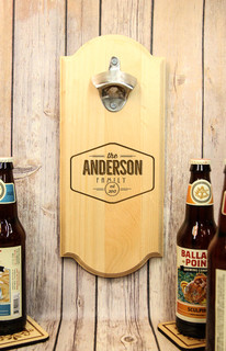 Personalized Wall Mount Bottle Opener - Family Center