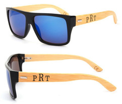 Personalized Bamboo Sunglasses - Color Frame Masculine Monogram Blue