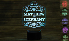 Personalized LED color changing  sign - Couple Names