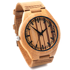 Wood Engraved Personalized Bamboo Watch W#58 - PinStripe