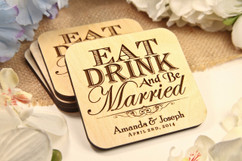 Groupon AU - Personalized Coaster Set - Eat Drink Be Married