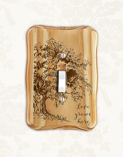 Personalized wood light switch -  Willow Tree