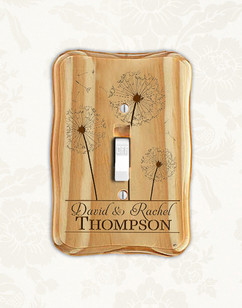 Personalized wood light switch -  Dandelions