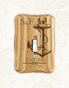 Personalized wood light switch - Nautical Anchor