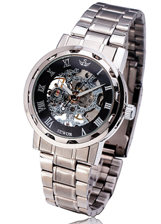 LUX  - Engraved Stainless Steel Skeleton Mechanical Watch W#23 - Royale