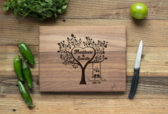 Walnut Personalized Cutting Board ~  Two Love Birds