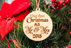 Personalized Christmas Ornament - Mr and Mrs
