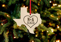 Personalized Christmas Ornament - State Heart  initials