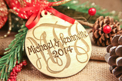 Personalized Christmas Christmas Ornament - Gold Monogram Family