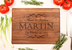 Walnut Personalized Cutting Board ~ Fancy Stack