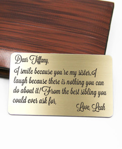 Grpn BE - Personalized Wallet Card- I Smile Because Sister