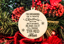 Personalized Christmas Ornament - White Christmas, Red Wine