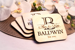 Grpn Italy  - Personalized Coaster Set - Imprint Initial