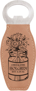 Grpn Italy - Personalized Leather Magnet Bottle Opener - Mason Jar