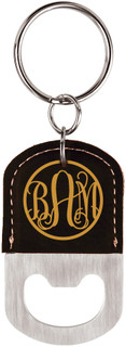 Grpn BE - Personalized Leather Key Chain Bottle Opener - Fancy Monogram
