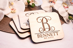 Grpn BE  - Personalized Coaster Set - Monogram Initial